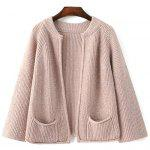 Stylish Stand Neck Long Sleeve Pockets Solid Color Cardigan For Women - LIGHT PINK