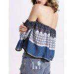 best Off The Shoulder Tribal Pattern Backless Top