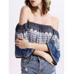 cheap Off The Shoulder Tribal Pattern Backless Top