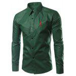 Brief Style Turn-Down Collar Slim Fit Long Sleeve Shirt For Men - DEEP GREEN