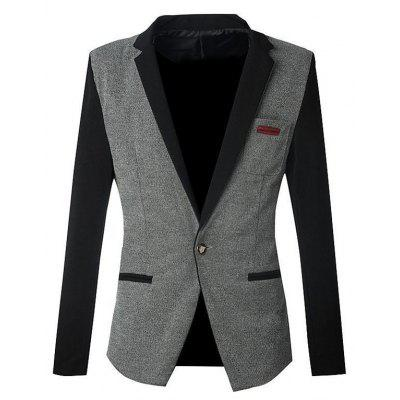 Notch Lapels Color Block Spliced Slim Fit Casual Blazer For Men