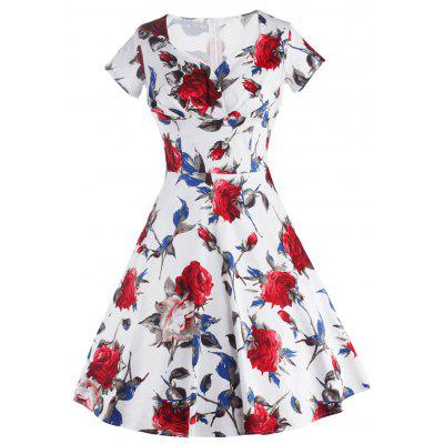 Comprimento do joelho Floral Flare Swing Pin Up Dress