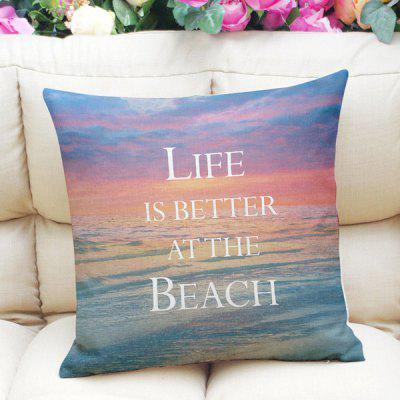 Fresh Style Home Decor Sunset Beach Letter Square Pattern Pillow Case