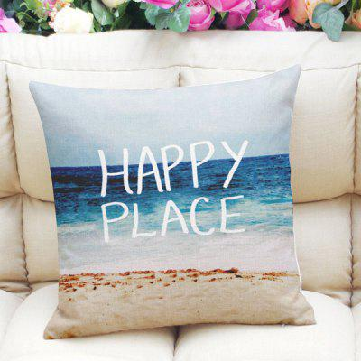 Beach Letter Print Linen Square Throw Pillow Case