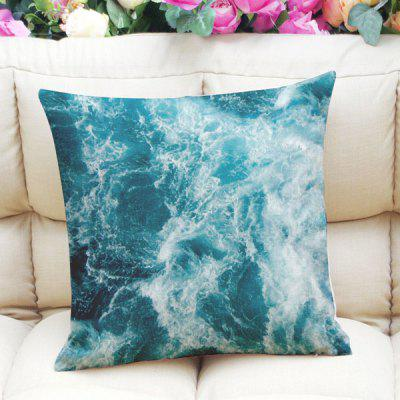 Fresh Style Home Decor Blue Seawater Square Pattern Pillow Case