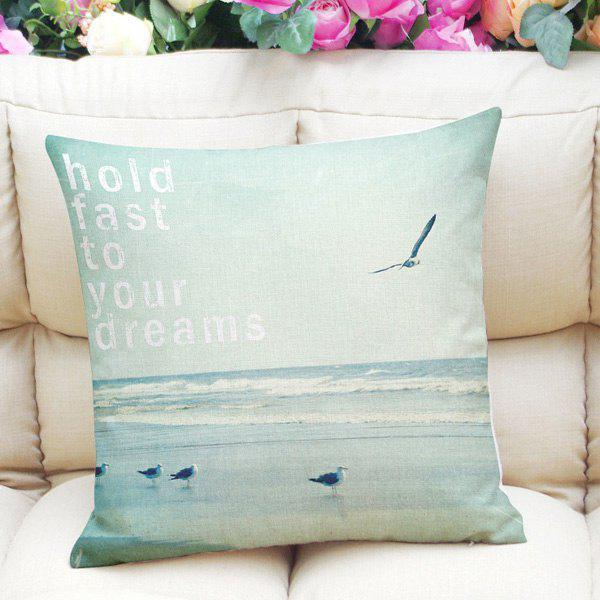 Fresh Style Home Decor Sea Mew Letter Square Pattern Pillow Case