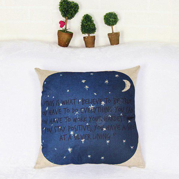Modern Style Square Night with Moon and Star Design Pillow Case