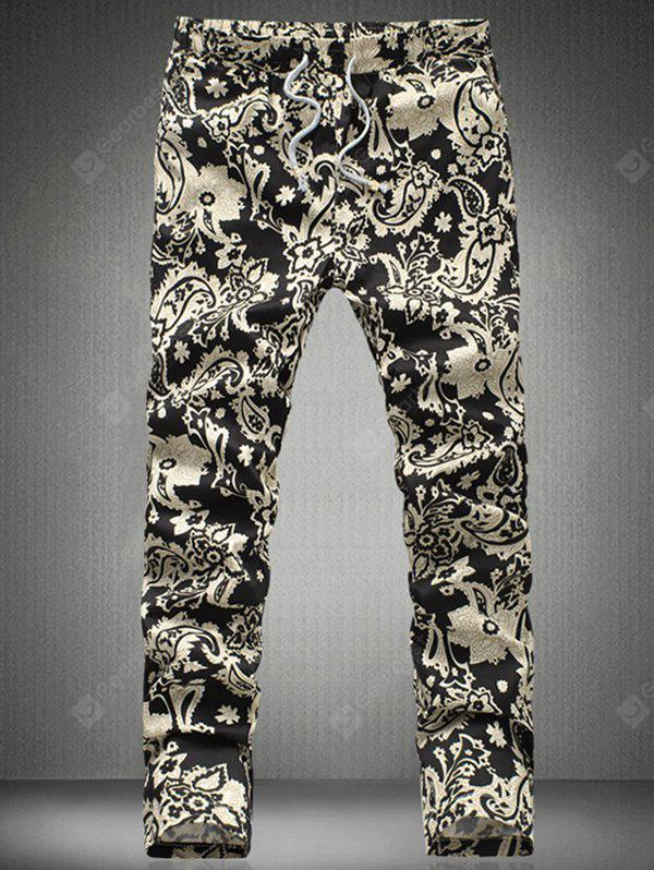 Chic Floral Print Drawstring Waistband Casual Pants For Men