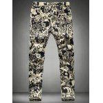 Chic Floral Print Drawstring Waistband Casual Pants For Men - BLACK