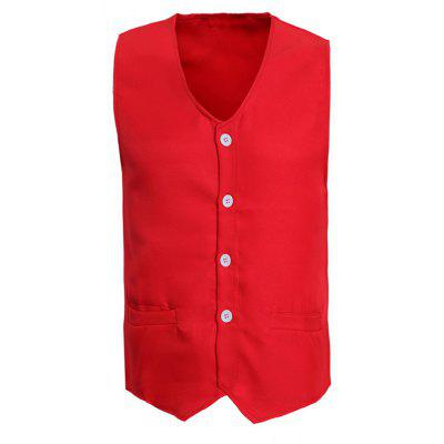V-Neck Solid Color Serration Lower Hem Waistcoat For Men