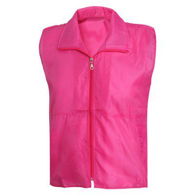 Solid Color Zip-Up Turn-Down Collar Waistcoat For Men