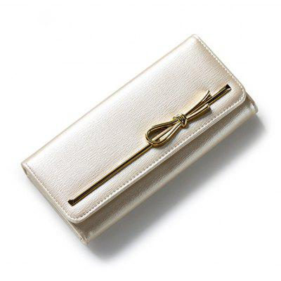 Fashionable Solid Color and Metal Design Wallet For Women
