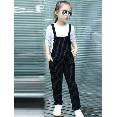 Girls Striped Black Jumpsuit