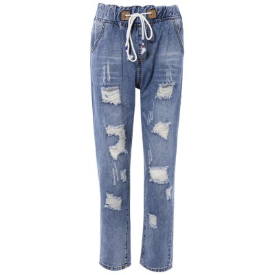 Drawstring Broken Hole Pocket Design Women's Jeans