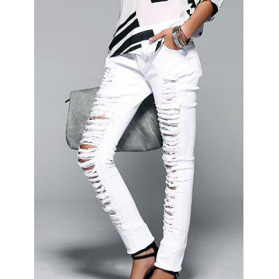 Button Fly Ripped Design Women's Skinny Jeans