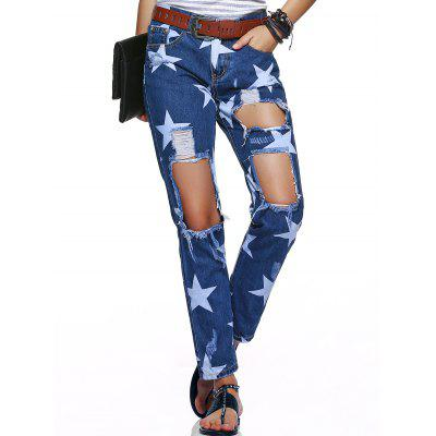 Star Hole Ripped Distressed Jeans
