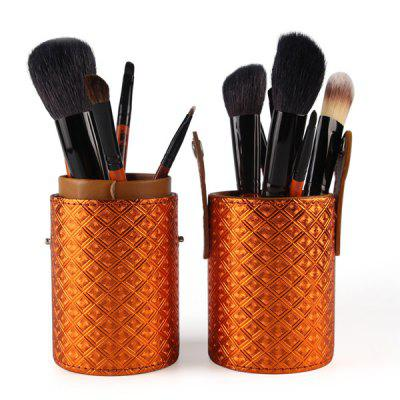 Stylish 12 Pcs Goat Hair Pony Hair Face Eye Lip Makeup Brushes Set with Brush Holder