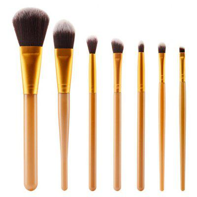 Buy GOLDEN Stylish 7 Pcs Plastic Handle Nylon Face Eye Makeup Brushes Set for $6.73 in GearBest store