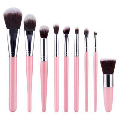 Buy PINK Stylish 9 Pcs Plastic Handle Nylon Face Eye Lip Makeup Brushes Set for $8.46 in GearBest store