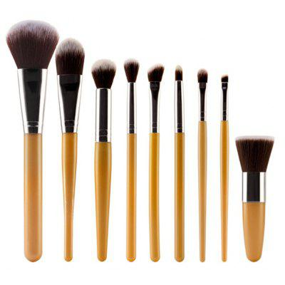 Buy GOLDEN Stylish 9 Pcs Plastic Handle Nylon Face Eye Lip Makeup Brushes Set for $8.46 in GearBest store