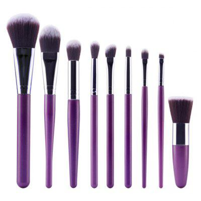 Buy PURPLE Stylish 9 Pcs Plastic Handle Nylon Face Eye Lip Makeup Brushes Set for $7.90 in GearBest store