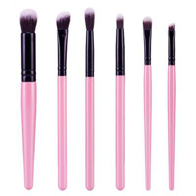 Buy PINK Stylish 6 Pcs Plastic Handle Nylon Face Eye Lip Makeup Brushes Set for $4.98 in GearBest store