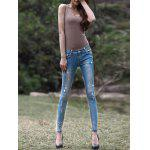 Light Color Star Pattern Ripped Jeans for sale