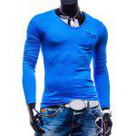 Brief Style Pure Color Pocket Design Long Sleeve Tee For Men - BLUE