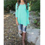 Buy Pure Color Button Asymmetric Blouse L LIGHT BLUE