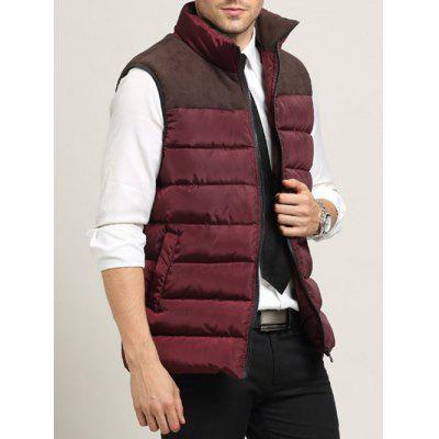 Zip Up Pocket Spliced Stand Collar Padded Waistcoat