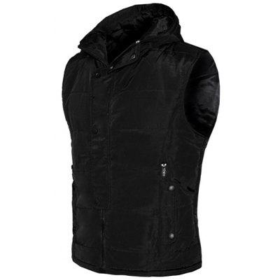 Snap Button Design Zip Up Hooded Padded Waistcoat For Men