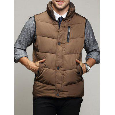 Zippered Snap Button Design Stand Collar Padded Waistcoat