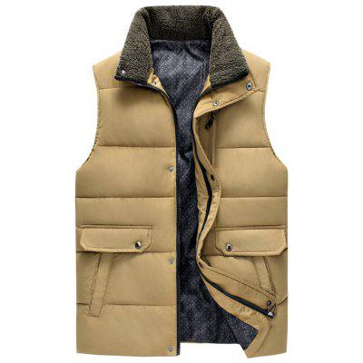 Snap Button Zippered Plush Stand Collar Padded Waistcoat
