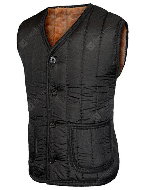 Plush Inside Pocket Button Up Collarless Vest For Men
