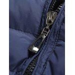 Leather Spliced Zippered Long Sleeve Stand Collar Down Coat For Men - BLUE