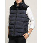 cheap Zip Up Pocket Spliced Stand Collar Padded Waistcoat For Men