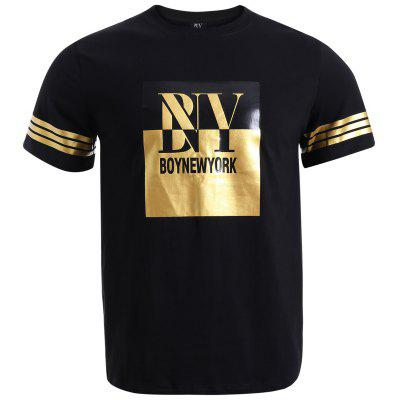 BoyNewYork Strips Applique Design Short Sleeves T-Shirt