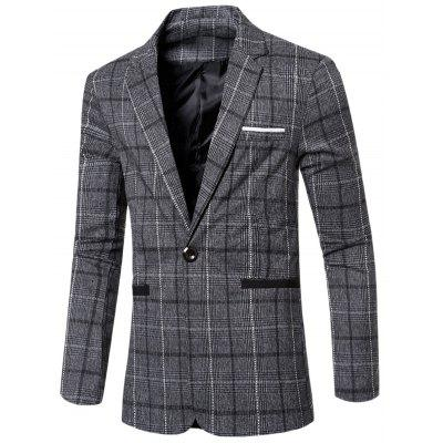 Vintage Notched Lapel Collar Single Button Slim Fit Striped Blazer For Men