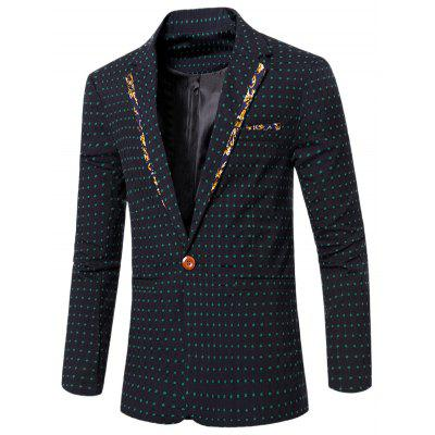 Stylish Spliced Dot Embroidered Lapel Collar Single Button Blazer For Men