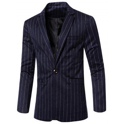 Stylish Striped Notched Lapel Collar Single Button Slim Fit Blazer For Men