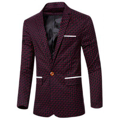 Lapel Collar Chic Stripe Print Single Button Patchwork Blazer For Men