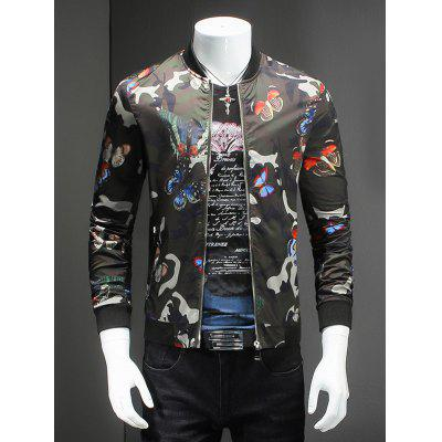 Butterflies Print Baseball Collar Long Sleeve Camo Bomber Jacket For Men
