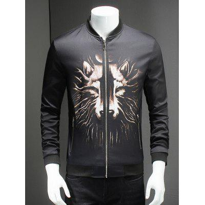 3D Wolf Print Ribbed Collar Long Sleeve Jacket For Men