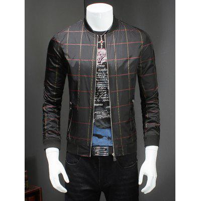 Fashion Checked Ribbed Collar Long Sleeve Jacket