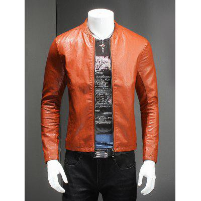 Pure Color Stand Collar Long Sleeve Leather Jacket For Men