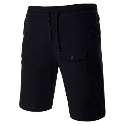 Patch Design Pocket Drawstring Shorts For Men