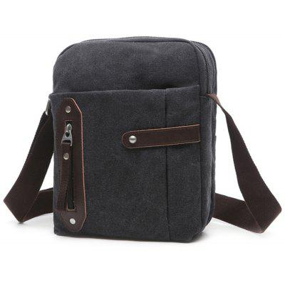 Leisure Zippers and Canvas Design Messenger Bag For Men