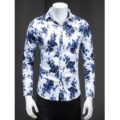Blue Roses Print Turn-Down Collar Long Sleeve Shirt For Men