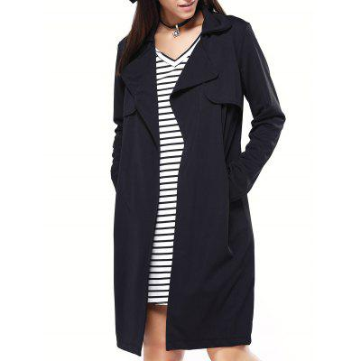 Simple Turn-Down Collar Pocket Design Coat
