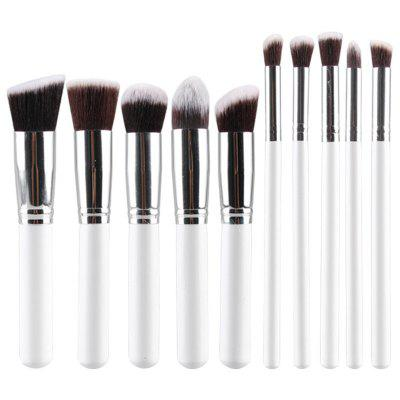 Stylish 10 Pcs Fiber Powder Brush Eyeshadow Brush Face Eye Makeup Brushes Set